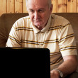 Senior man is working on laptop in living-room - Stock Photo
