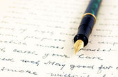 Vintage text and fountain pen — Stock Photo