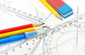 Geometry equipment for children in school — Stock Photo