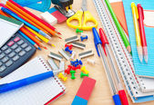 School equipment on writing desk — Stock Photo