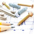 Blueprint and tools — Stock Photo