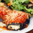 Stock Photo: Baked eggplant filled with tomato and cheese