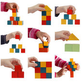 Child hands playing with colored blocks collage — Stock Photo
