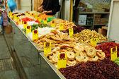Bliska wielu kolorowych suszonych owoców — Zdjęcie stockowe