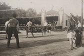 I soldati giocare a pallavolo, ucraina, 1939 — Foto Stock
