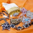Materials for handmade: beads, rhinestones, buckles, leather — Stock Photo