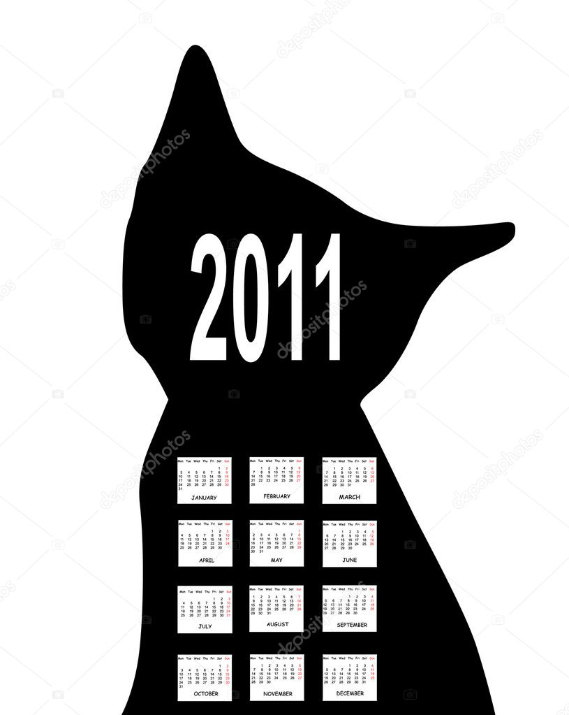 Annual calendar for 2011 with black cat silhouette — Stock Vector #4121494