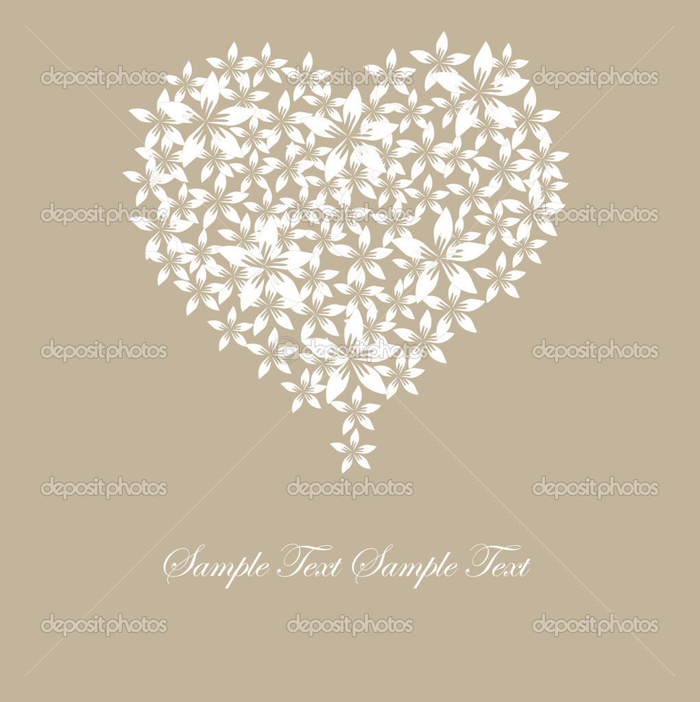 Valentine's day card with floral heart and space for text  Stock Vector #4751350