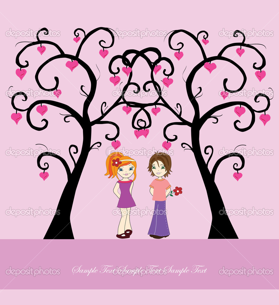 Valentine's day card with boy, girl, love trees and space for text — Stock Vector #4765323