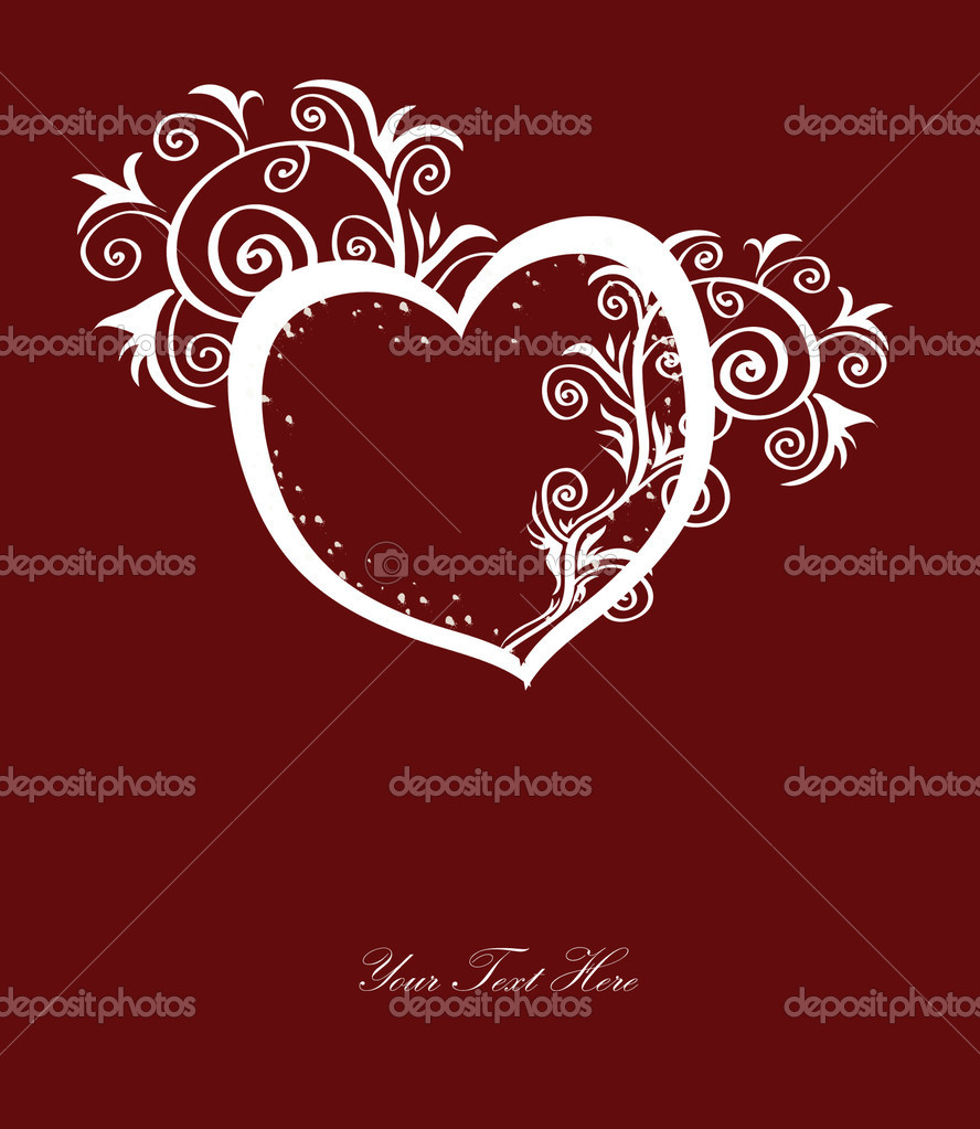 Valentine's day card with abstract heart, ornament and space for text — Stock Vector #4827353