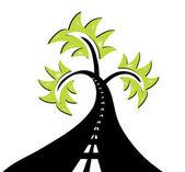 Abstrakt road träd — Stockvektor