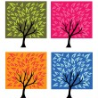Stock Vector: Four season trees