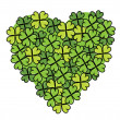 Stock Vector: Clovers heart