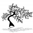 Vector de stock : Floral tree silhouette