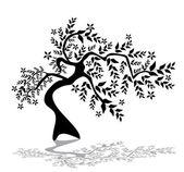 Silueta de árbol floral — Vector de stock