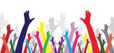 Multicolor hände — Stockvektor