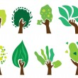 Set of hand trees — Stock Vector
