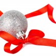 Stock Photo: Christmas silver ball with red ribbon