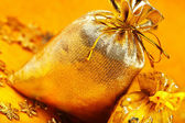 Two golden gift sacks with ribbons — Stock Photo