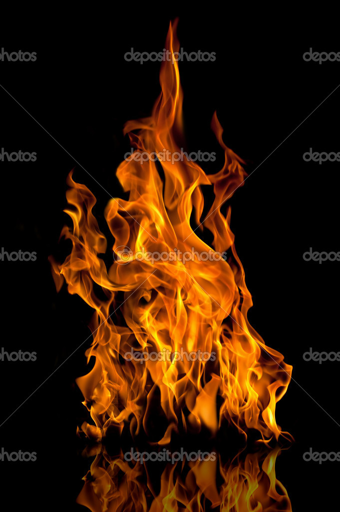 Fire flames with reflection on black background — Stock Photo #4484312