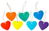 Rainbow colored paper hearts with rope — Stockfoto