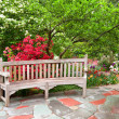 Stock Photo: Bench in garden