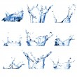 Set of nine water splashes - Foto Stock