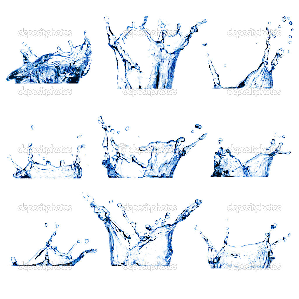 Set of nine water splashes toned blue isolated on white   Stock Photo #5284632