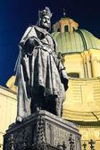Charles IV statue at night. Prague. — Stock Photo