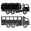 Detailed Vector trucks silhouettes set — Stock Vector