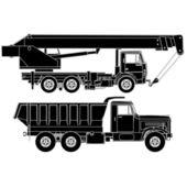 Detailed Vector trucks silhouettes set — Stock Vector