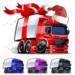 Stock Vector: Vector Christmas truck one click repaint