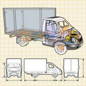 Vector delivery / cargo truck infographics cutaway — Stock Vector