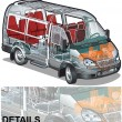 Stock Vector: Vector mini bus infographics cutaway