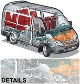 Vector mini bus infographics cutaway — Stock Vector