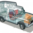 Vector delivery / cargo van infographics cutaway - Stock Vector