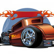 Vector cartoon hotrod - Stock Vector