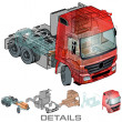 Vector semi-truck infographics cutaway - Stock Vector