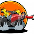 Vector cartoon dragster - Stock Vector