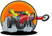 Vector cartoon dragster — Vettoriale Stock
