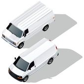 Vector delivery vans isometric set. — Stock Vector
