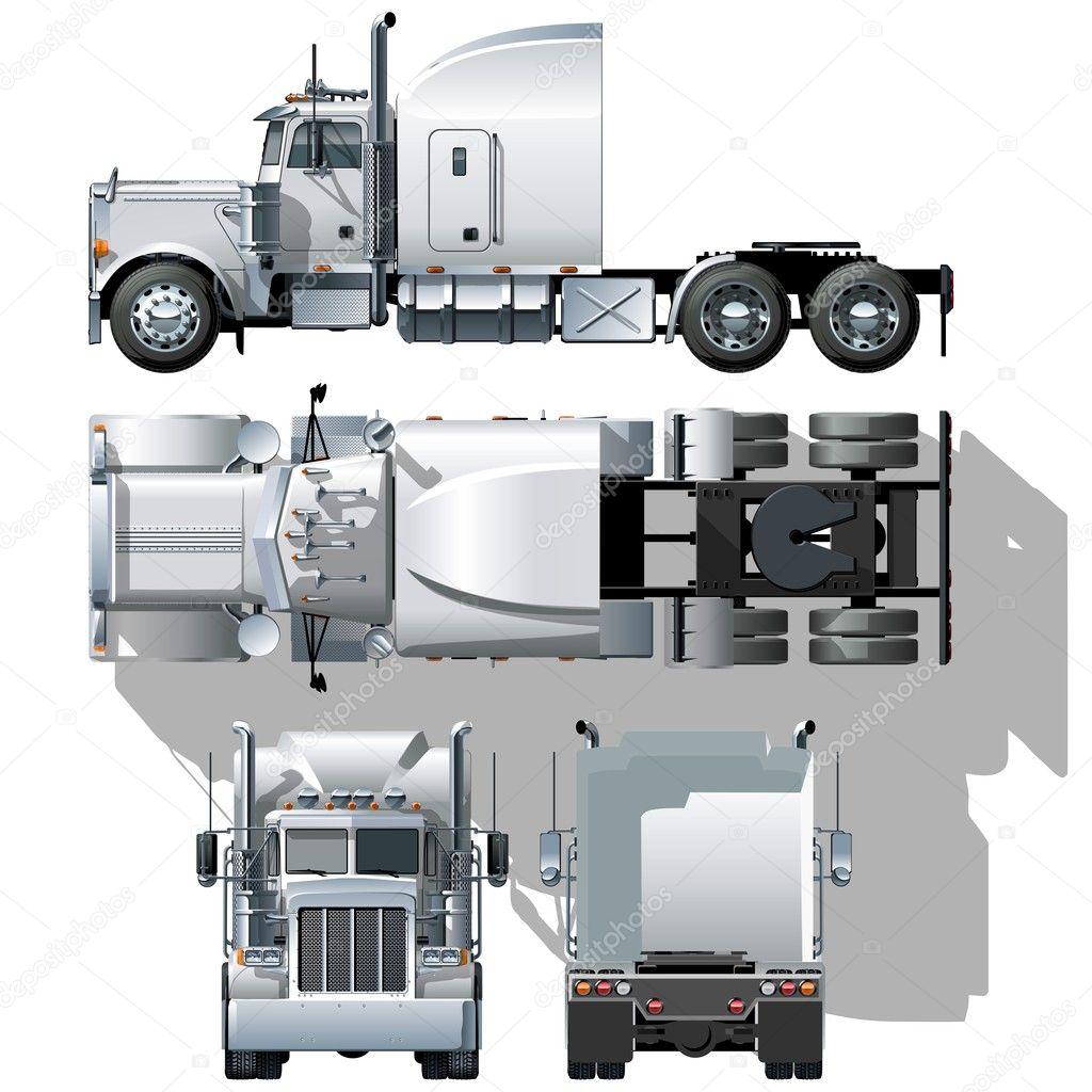 Semi Truck Side View Vector Vector hi Detailed Semi Truck