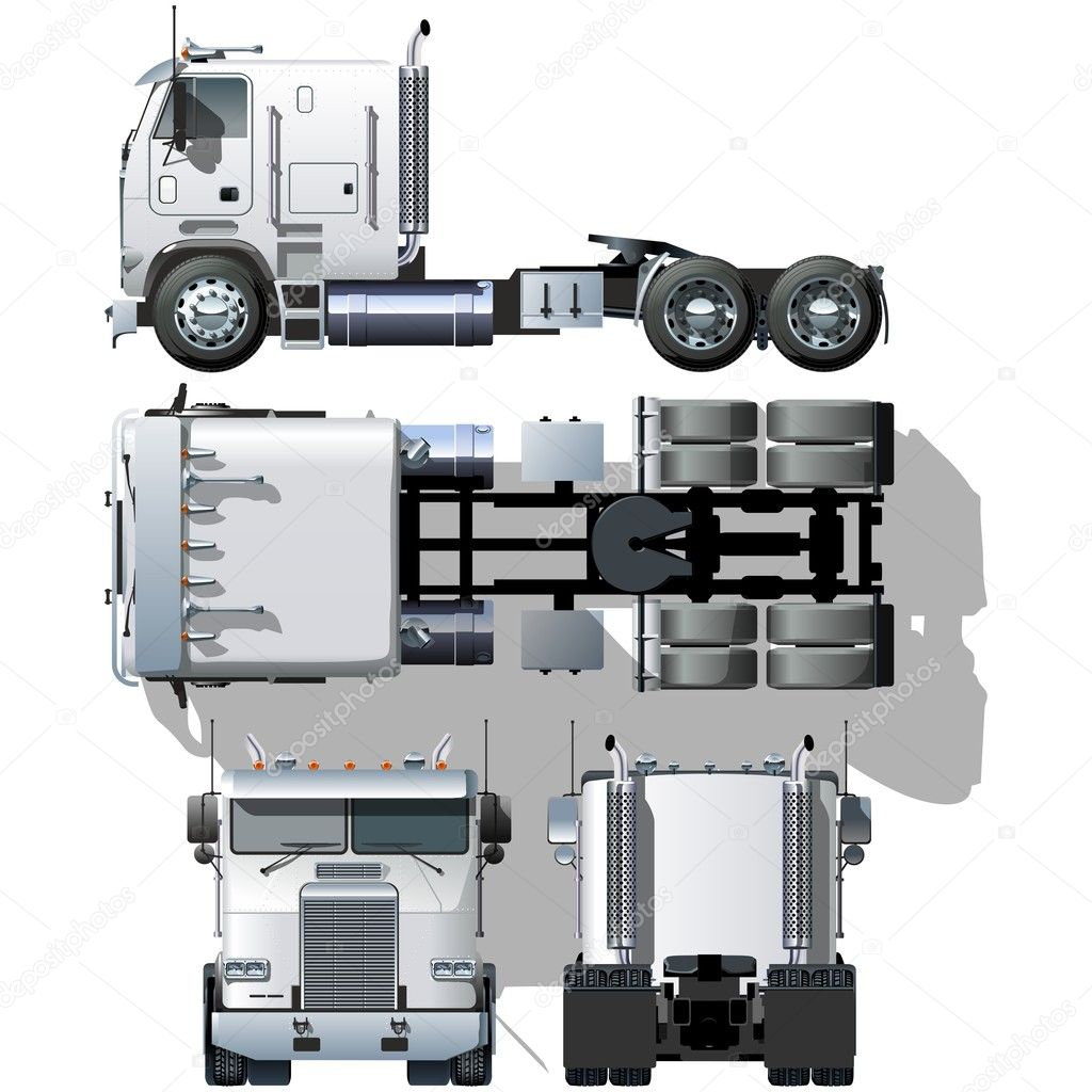 Semi Truck Front Vector Vector hi Detailed Semi Truck
