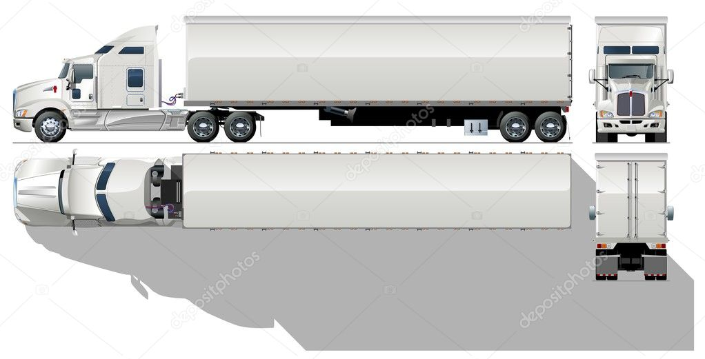 Semi Truck Drawings Vector hi Detailed Semi Truck