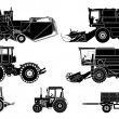Stock Vector: Vector agricultural vehicles set