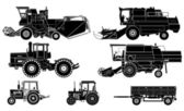 Vector agricultural vehicles set — Stock Vector