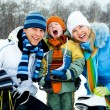 Stock Photo: Family ice skating