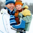 Father and son go ice skating — Foto de Stock
