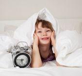 Girl wakes up — Stock Photo