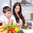 Royalty-Free Stock Photo: Couple cooking together